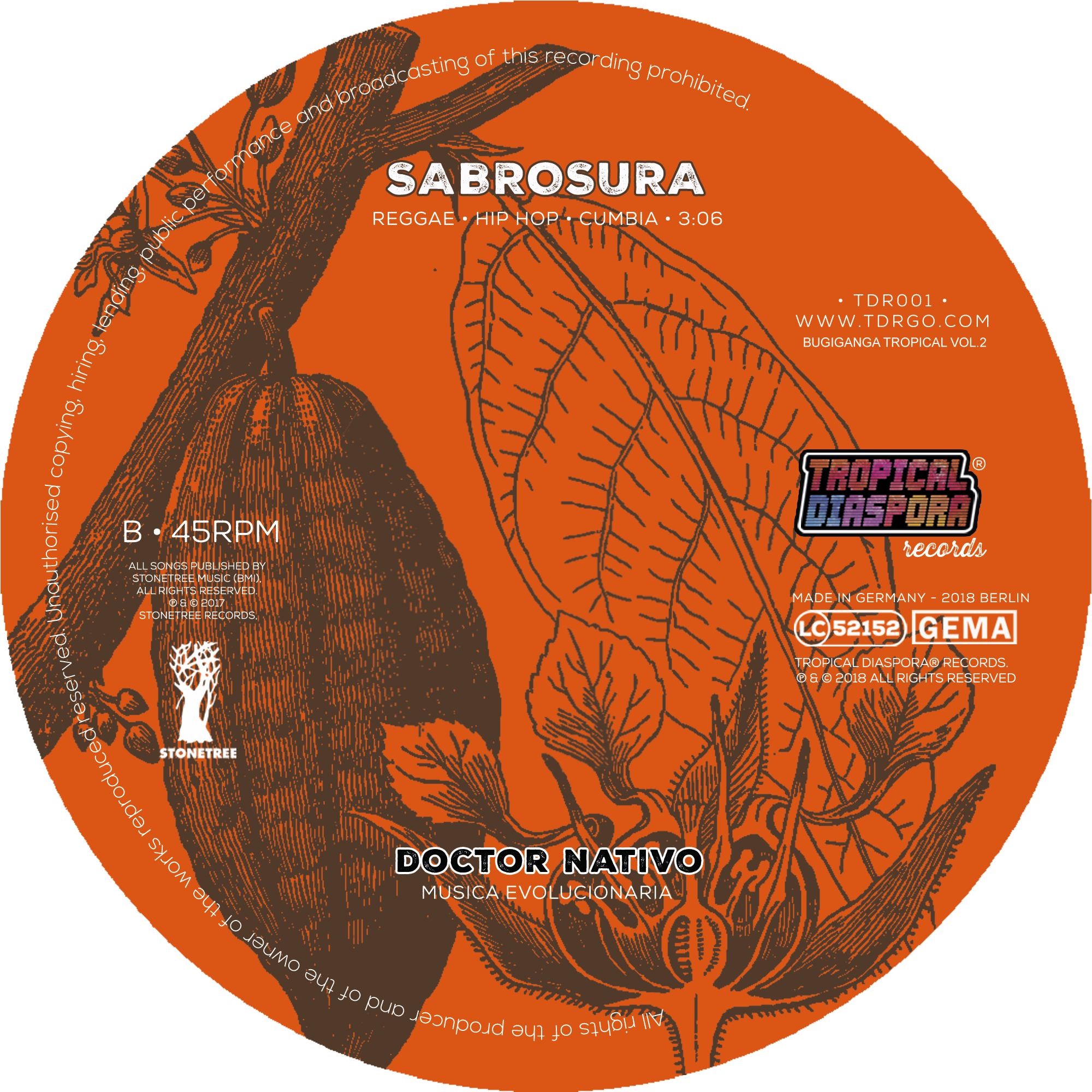 TDR001 Vinyl7inch Etikett90mm großeres Mittelloch SIDE B v6
